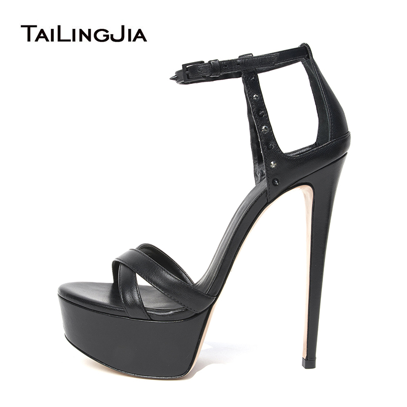 Womens Ultra High Heel Platform Black Sandals Rivets Platforms Nude Stiletto Heels Ladies Summer Heeled Party Dress Shoes 2019