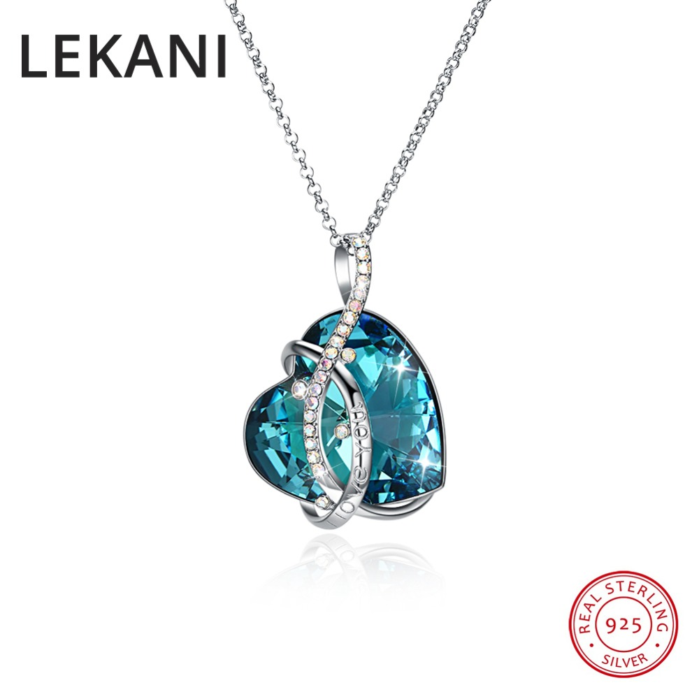 LEKANI 925 Silver Max Blue Heart Pendant Necklace Crystals From Swarovski Long Chain Colares For Women Gifts Luxury Fine Jewelry chamsgend summer toddler kids baby girls clothes printing sleeveless dress small house vest princess tutu dresses june8 p30