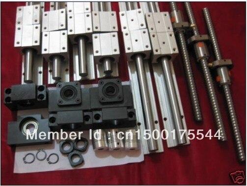 6 комплектов SBR16 L300/1500/1500 мм + 3 шт. SFU1605-L1550/1550/350 мм + 3 DSG16H Гайкодержатель + 3 BK12/BF12 конец подшипники + 3 муфты для ЧПУ
