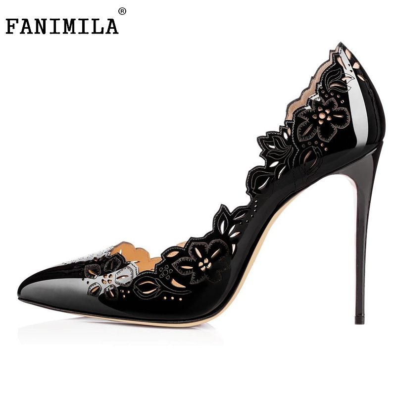 Stiletto Women Pumps Sexy Pointed Toe High Heels Shoes Woman Hollow Out Flower Office Lady Party Shoes Footwear Size 35-46 B258 lady plus size 35 46 sexy mesh patching customized luxury diamond pointed toe genuine leather high heels shoes women pumps party