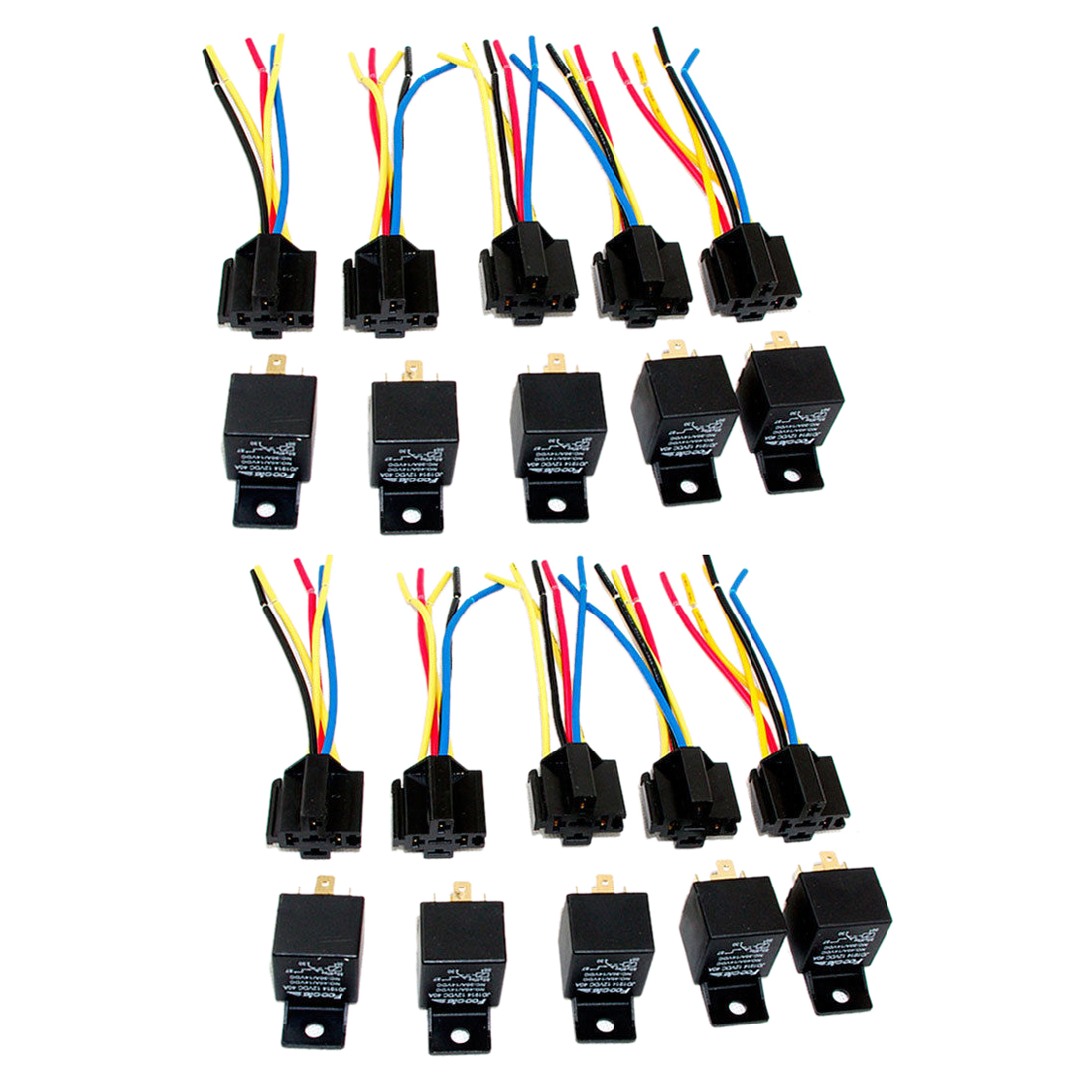 Lot10 New 12 Volt 40 Amp SPDT Automotive Relay With Wires & Harness Socket