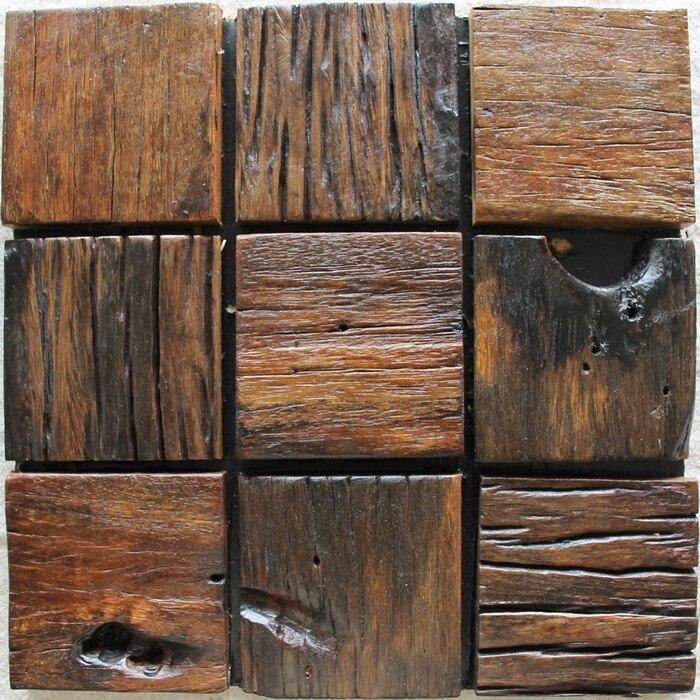 big square wood mosaic rustic wood backsplash tile block ancient wood  mosaic panels mesh backing wall