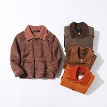 New winter childrens  warm . Boys outdoor plus velvet jacket. Turn-down Collar Solid Heavyweight kids coats