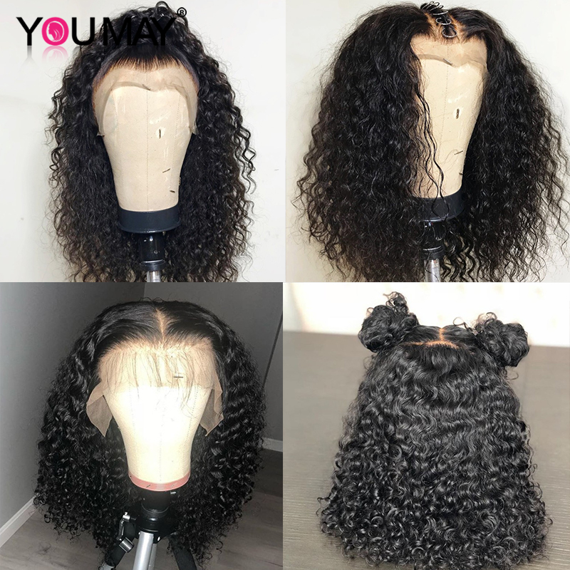 Image 2 - Kinky Curly Wig 360 Lace Frontal Wigs Pre Plucked Fake Scalp 13X6 Brazilian Lace Front Human Hair Wigs For Women You May Remy-in Human Hair Lace Wigs from Hair Extensions & Wigs