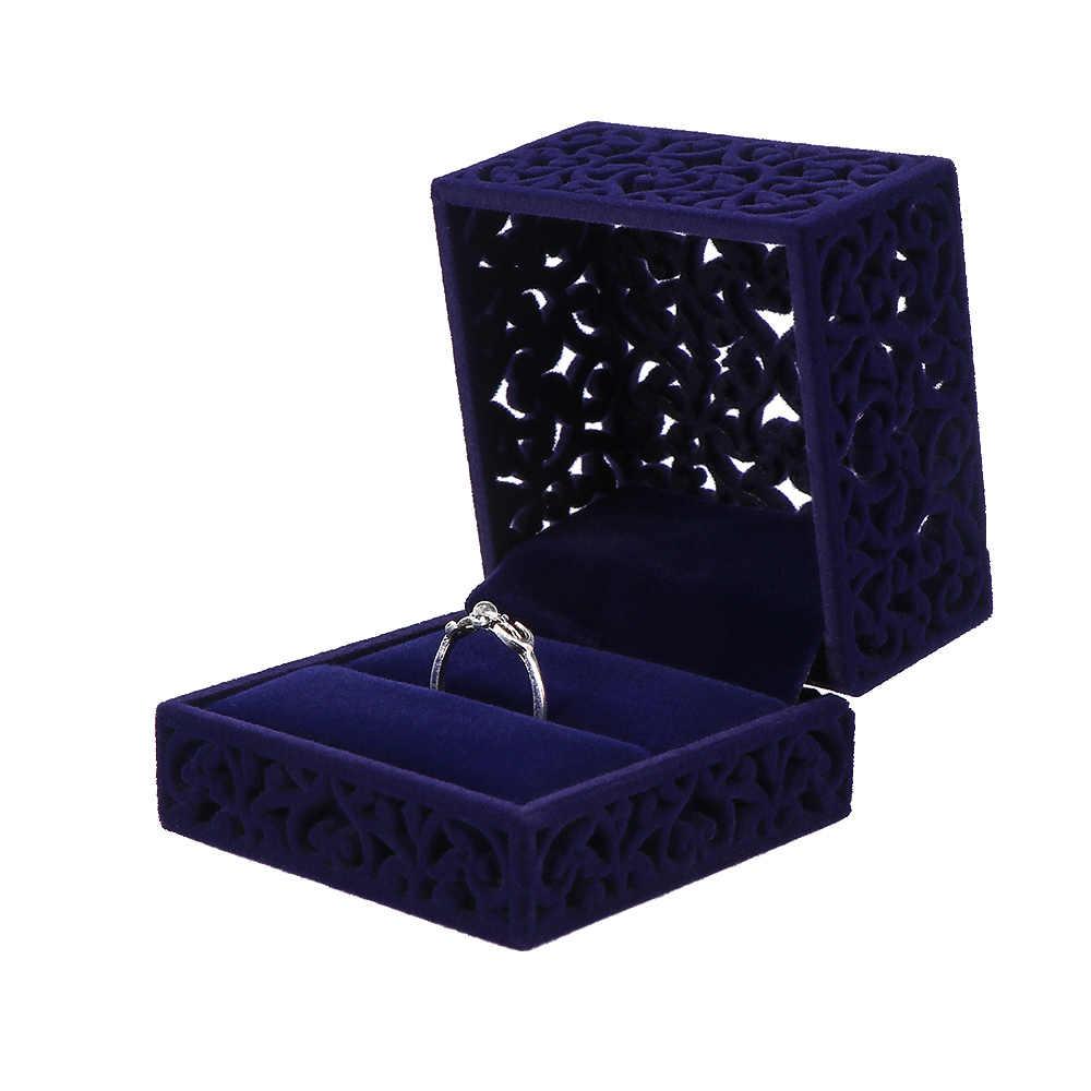 1 قطعة تصميم جديد خاتم مخملي صندوق تخزين الأزرق الأحمر الجوف خارج مجوهرات عرض المشاركة علب للمجوهرات