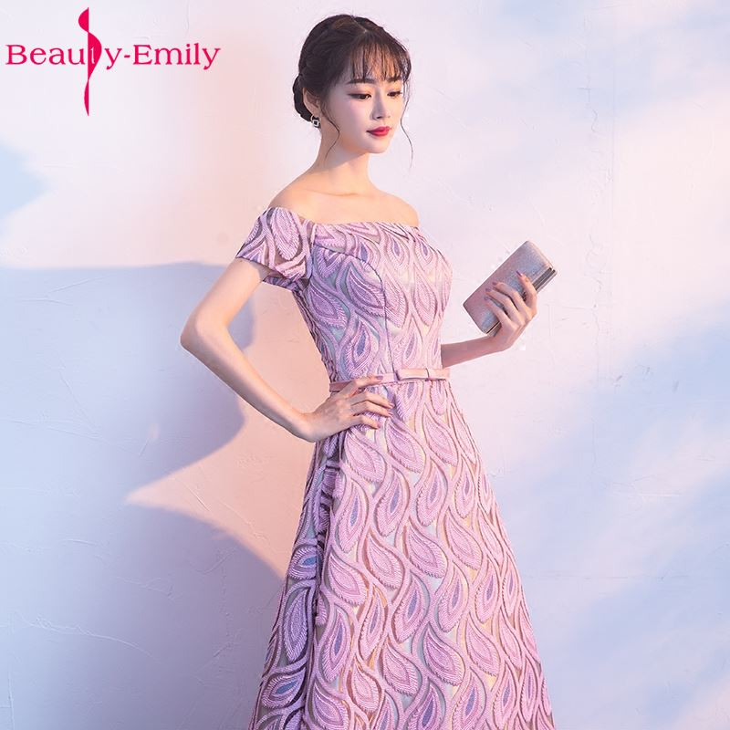 Beauty Emily New Long A line Pink Purple Evening Dresses 2017 Lace ...