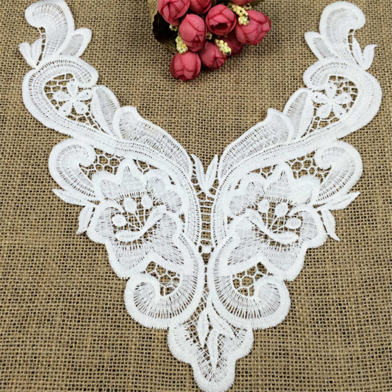 DoreenBeads Embroidered Flower Collar Lace Back Neckline Lace Aplique Dress Underwear Pillowcase Cushion About 30*14cm 1PC ...