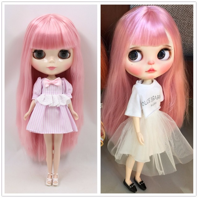Blyth Joint Body White Skin with Long Straight light Pink