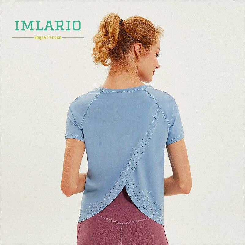 Back Slit Workout Yoga Top Quick Dry Women Short Sleeve ...