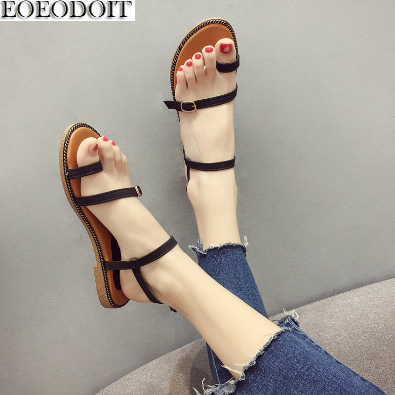 EOEODOIT Summer Sandals Flat Heel Leather Casual Women Shoes Flats With Leather Belted Slip Resistance Brief Beach Sand Shoes