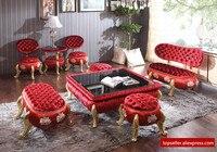High End Club Studio European Style Sofa Glass Coffee Table Corner Red Pumpkin Stool Living Room