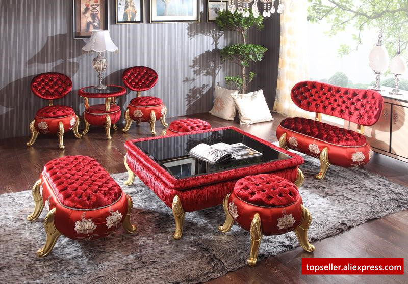 8pcs/set High - end club studio Russian - style sofa set glass coffee table corner red ottoman living room furniture sofa set led bar table plastic luminous furniture high cocktail drinking table for living room dining room garden club party desk