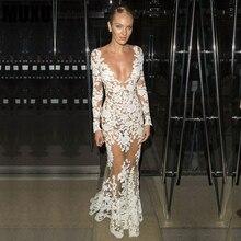 MUXU summer white dress women vestidos long dresses bodycon clothes jurken long sleeve transparent flower lace crochet dress