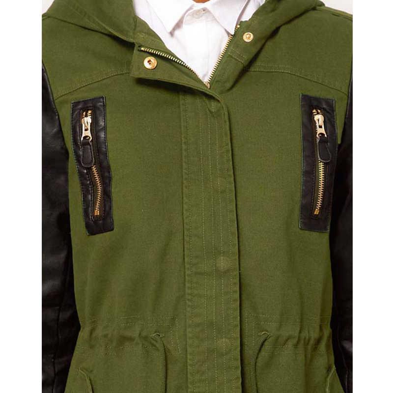 HYH Haoyihui Army Green Women Cap Parker Femme Overcoat Black PU Leather Sleeve Trench Coats Freeshipping New Autumn