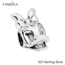 8e89edaea Beads Fits Pandora Bracelets 925 Sterling Silver Jewelry Daisy Duck Portrait  For Women Original Fashion Charms CKK