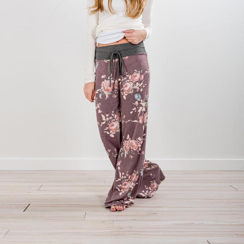Women Long Pants Loose Floral Print Drawstring Lace Camouflage stripe Wave point Sweatpants 6