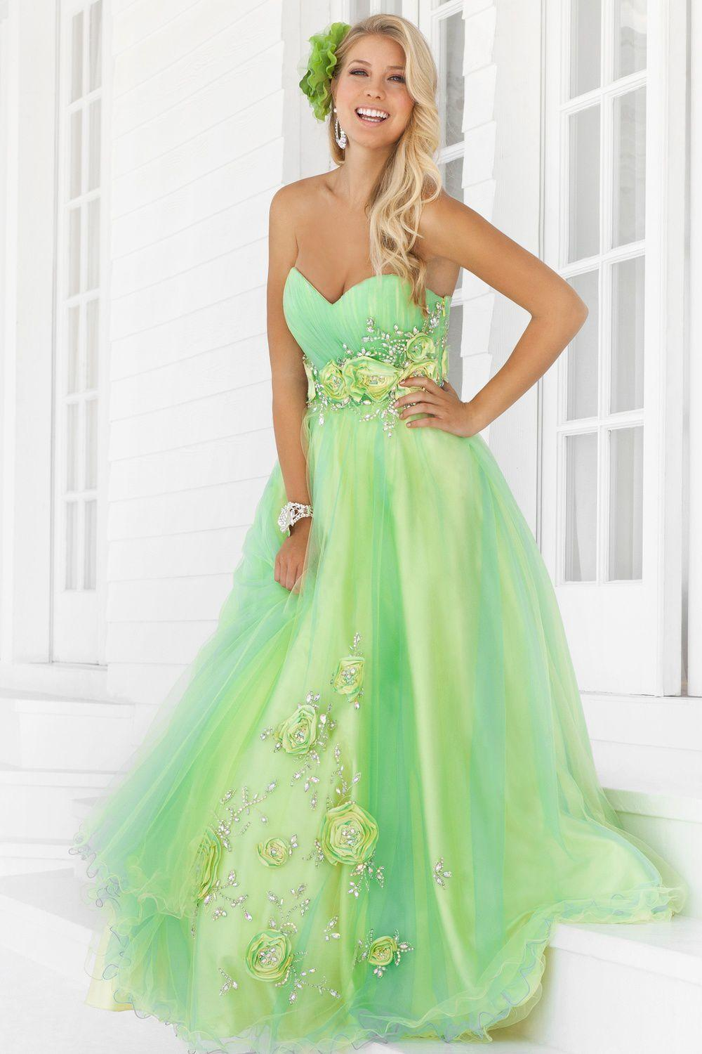 2015 Lime Green Prom Dresses A Line Sweetheart Tulle Lace