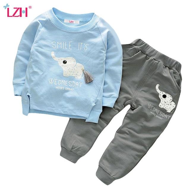 LZH Toddler Boys Clothing Sets 2017 Autumn Winter Children Boys Clothes Set T-shirt+Pant 2pcs Outfit Christmas Suit Kids Clothes