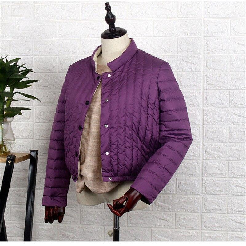 Sanishroly ฤดูใบไม้ร่วงผู้หญิงฤดูหนาวสั้น Tops Stand Collar เป็ดสีขาวลงเสื้อแจ็คเก็ตหญิง Ultra Light Down Coat Parka Plus ขนาด SE544-ใน เสื้อโค้ทดาวน์ จาก เสื้อผ้าสตรี บน   3