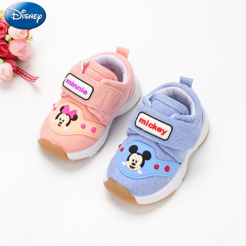 Disney 2018 New Mickey Children's Casual Shoes Anti skid Lightweight Fashion Kids Travel Shoes Baby Velvet Cartoon Net Shoes