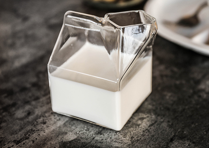 factory direct sale square milk glass milk box glass mug milk box cup 5