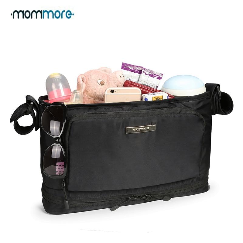 mommore Baby Nappy táska hőszigetelő pelenka táskák vízálló anyu táska fekete vízálló babakocsi szervező táska ingyenes szállítás