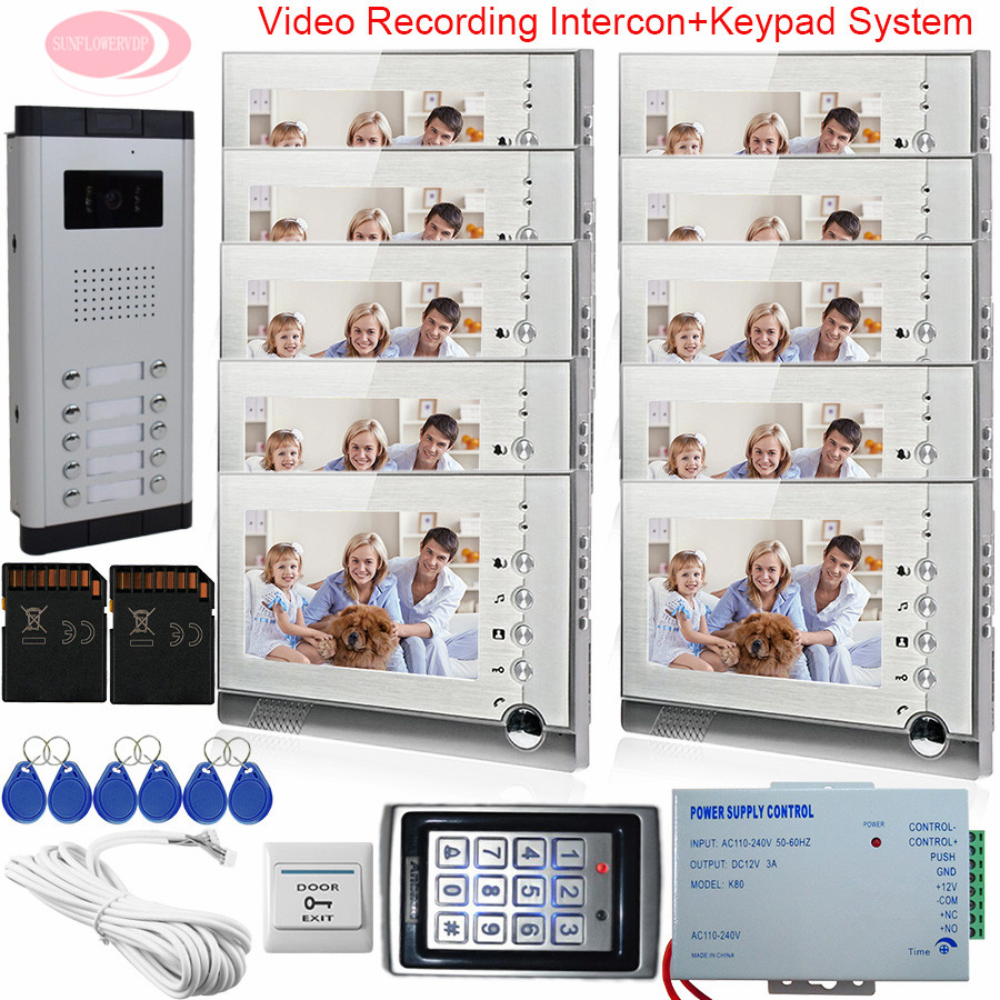 7Inch Video Intercom System For 10 Apartments Monitor For Video Intercom With Recording Home Phone +Keypad Access Control System aputure digital 7inch lcd field video monitor v screen vs 1 finehd field monitor accepts hdmi av for dslr