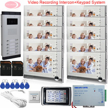 7Inch Video Intercom System For 10 Apartments Monitor For Video Intercom With Recording Home Phone +Keypad Access Control System
