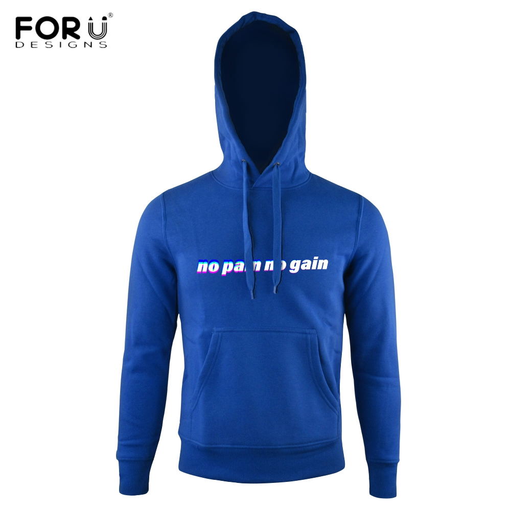 FORUDESIGNS Pullover Women/Men Winter Autumn Hoodies No Pain No Gain Letters Printed Sweatshirts Thickened Outerwear Hoodied Cap