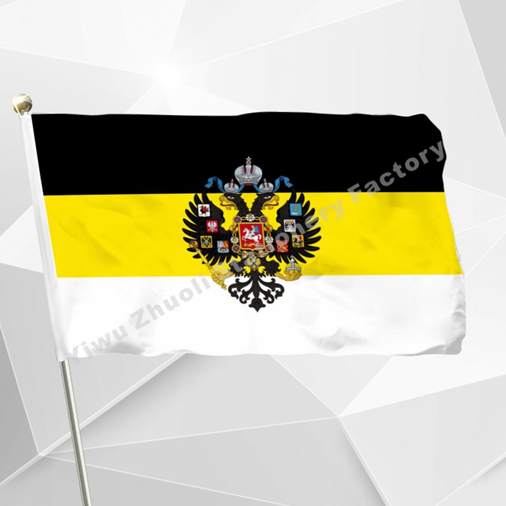 Imperial Russia Flag 150X90cm (3x5FT) 120g 100D Polyester Double Stitched High Quality Free Shipping Russian Empire Flag