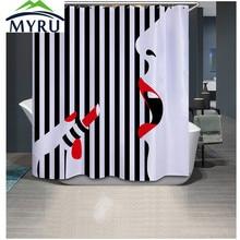 MYRU 3D Printing Modern Women Black White Striped