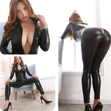 PVC Leather Body Suits Sexy Long Sleeve Zipper Bodysuit Women Fetish Lingerie Erotic Clubwear Queen Costume