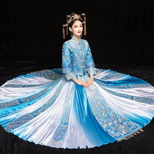 Explosion Models Blue Bride Show Wo Suit Chinese Wedding Dress Dragon And Phoenix Retro Improved Pleated Skirt Toast Dress(China)