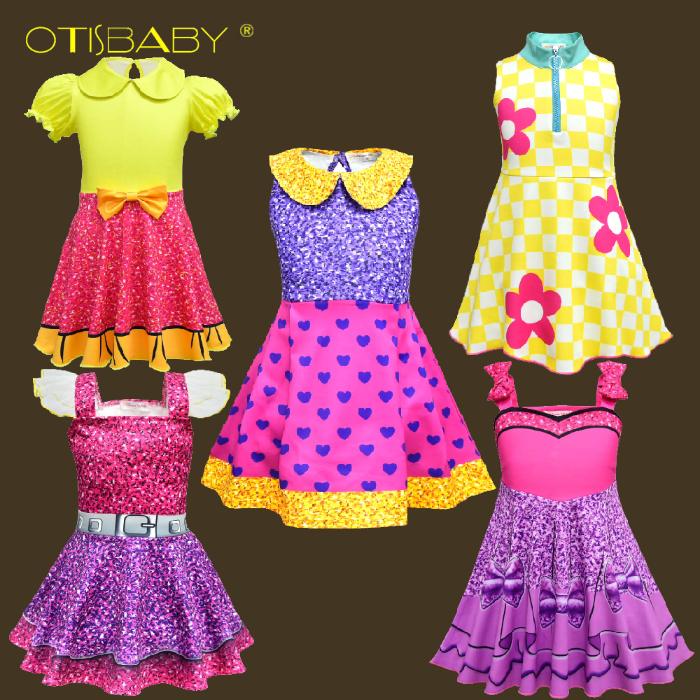 Wholesale lot 2-10 <font><b>Year</b></font> Children Lol Clothes Child Rainbow Lol Costumes for <font><b>Girls</b></font> Princess <font><b>Birthday</b></font> Party Holiday Lol <font><b>Girl</b></font> <font><b>Dress</b></font> image