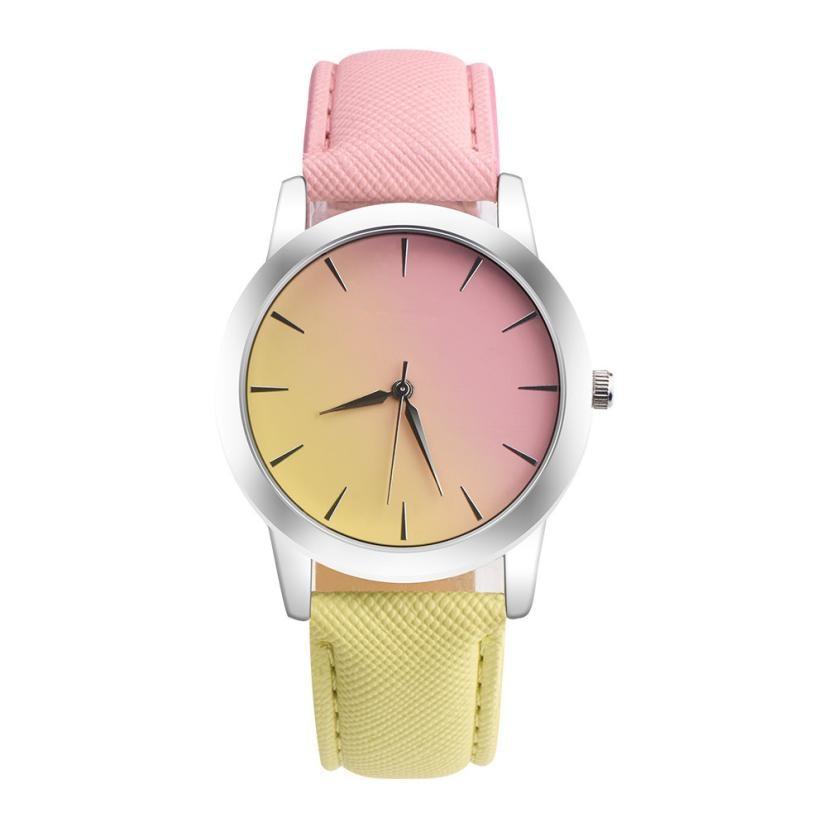 Retro varavīksnes dizains spilgtas krāsas pulkstenis PU ādas josla - Sieviešu pulksteņi