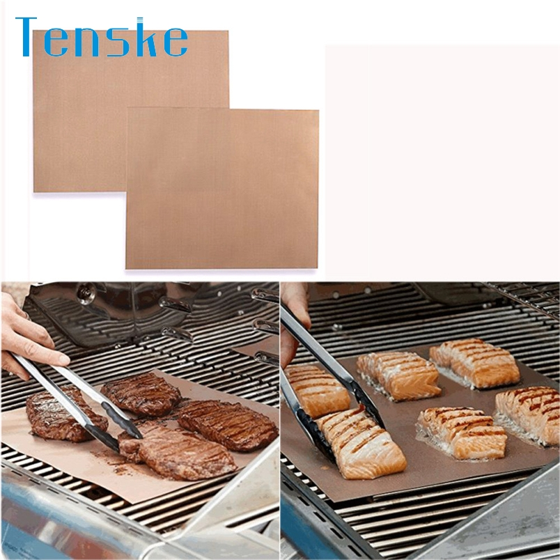 Tenske accessoire barbecue Hot selling Kitchen Copper Chef Grill and Bake Mats Outdoor BBQ Tools 2Pcs
