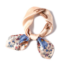 2019 Womens Square Silk Scarf Floral Printed Summer Shawls Wraps Ladies Bandana Female Hijabs Foulard Headband 70*70CM