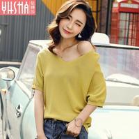 2017 Summer New Fashion Loose Large Size V Neck Women S Short Sleeved T Shirt