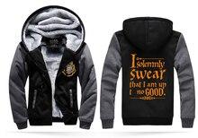 funny hoodies I Solemnly Swear- That I Am Up To No Good funny men sweatshirts 2016 winter fleece men's sportswear hipster coat