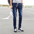 2017 Fashion Male Rope Skinny Pants Denim Trousers Pencil Pants Slim Ankle Cotton Youth Popular Full Length Casual  Pants