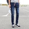 2017 Moda Masculina Cuerda Pantalones Flacos Pantalones de Mezclilla Pantalones Lápiz Delgado Tobillo Algodón Juventud Popular Encuadre de cuerpo entero Pantalones Casuales