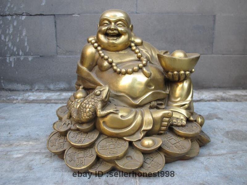 Chinese Buddhism Brass Copper Happy Laugh Yuan Bao Toad Maitreya Buddha StatueChinese Buddhism Brass Copper Happy Laugh Yuan Bao Toad Maitreya Buddha Statue