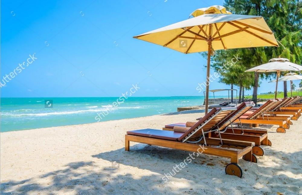 Strand tapete, Bett strand auf tropical beach, natürliche landschaft ...