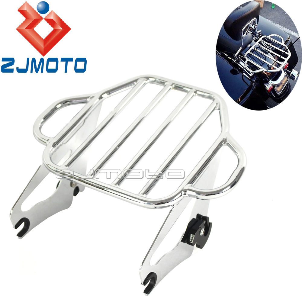 Chrome Motorcycle Detachable Luggage Rack For Harley Touring 2009 2016 Road King Street Road Electra Glide