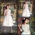 De alta qualidade do Vintage V Neck ver através Lace Tea comprimento do vestido de casamento com mangas vestido de noiva Hot Sale frete grátis