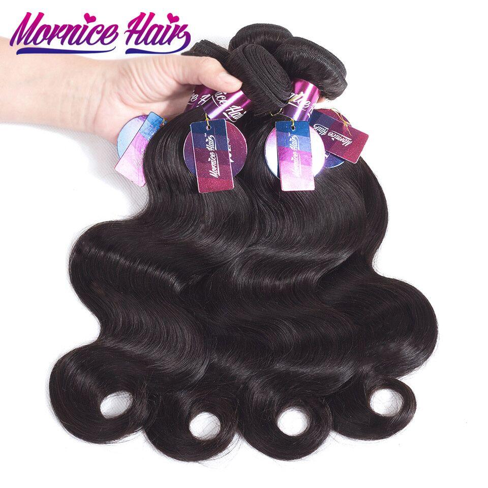 Mornice human hair Malaysia Body Wave Hair Extension 4 Bundles Human Hair Weave Bundles Natural Color Non Remy Hair Bundles