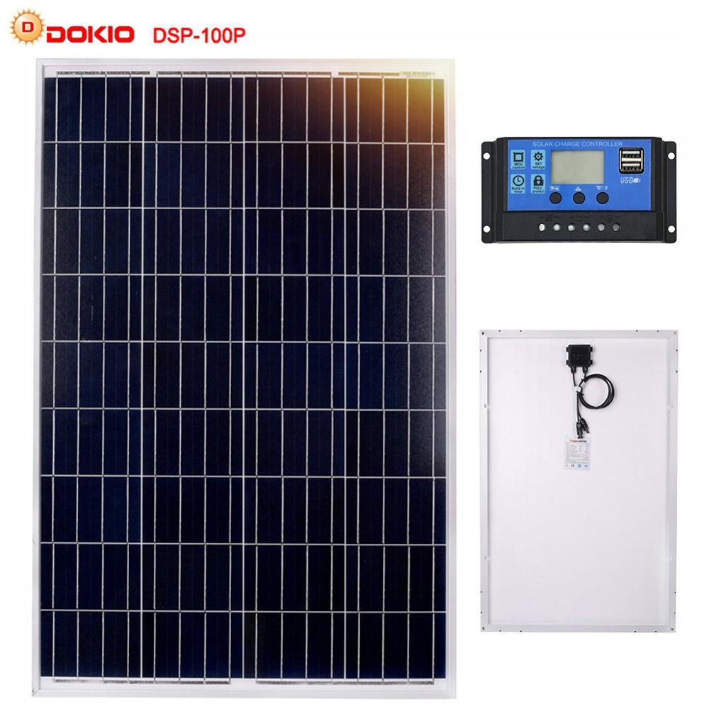 Dokio Brand 100W Polycrystalline Silicon Solar Panel China 18V 1012x660x30MM Size Panel Solar Top quality Solar