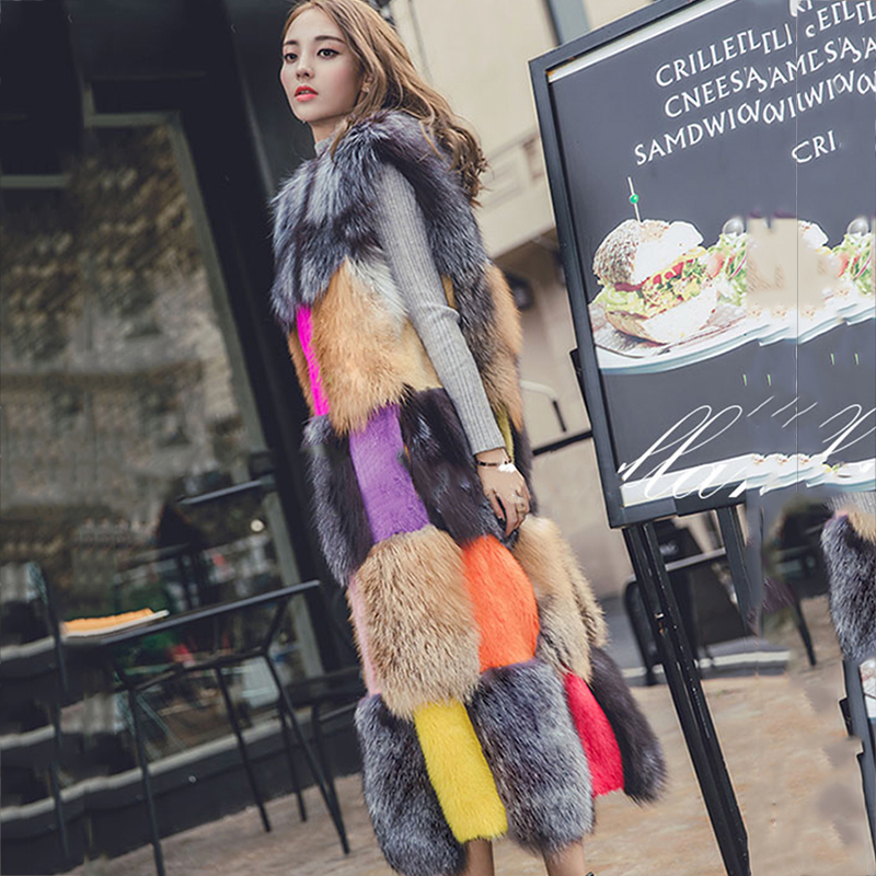 LVCHI 2019 Sleeveless Mink Coats Women's With Fox Fur Collar Real Fur Fox&Wool Leather Fur Robe Femme coat Mink Coat