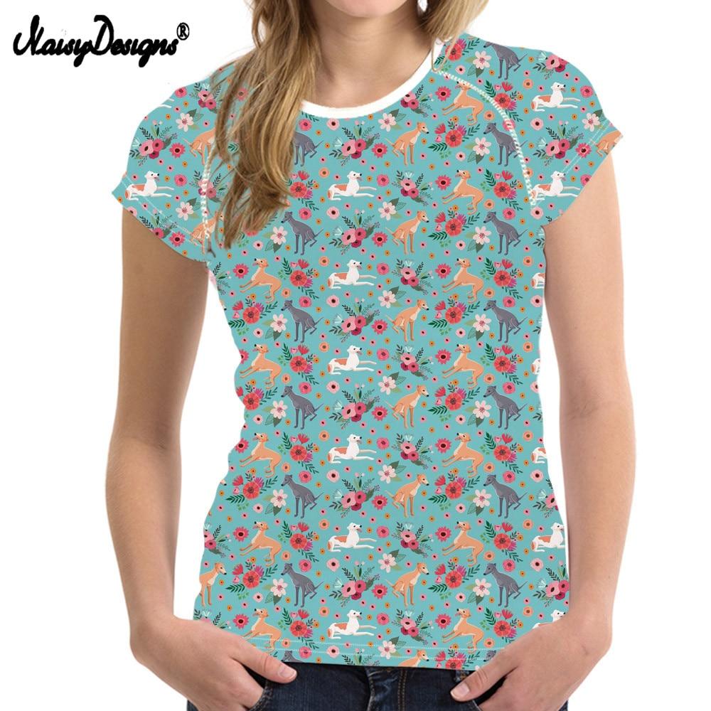 NOISYDESIGNS Women Summer Greyhound Casual Tee Shirt Ladies Top Tees Spandex Tshirt Female Brand Clothing T Shirt Printed Tops