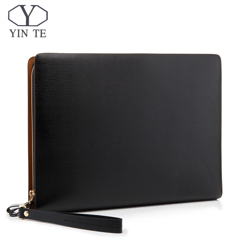 YINTE Leather Folder Bag IPad/Paper Folder Document Leather File Bag Storage Luxury Business Design Holder Men Bag Portfolio T54 ppyy new a4 zipped conference folder business faux leather document organiser portfolio black